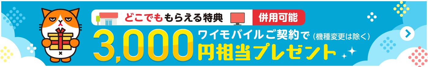 どこでももらえる特典 併用可能 ワイモバイルご契約で3,000円相当プレゼント(機種変更は除く)