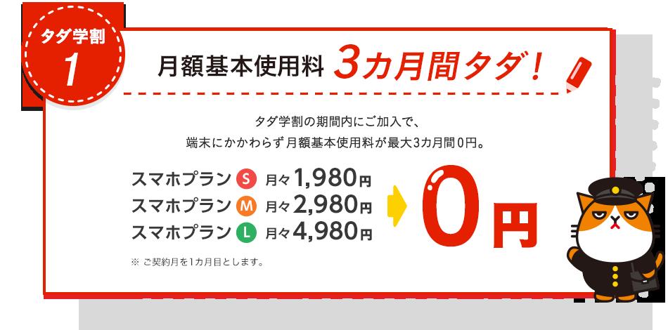 タダ学割1 月額基本使用料3カ月間タダ! タダ学割の期間内にご加入で、端末にかかわらず月額基本使用料が最大3カ月間0円。スマホプランS月々1,980円、スマホプランM月々2,980円、スマホプランL月々3,980円が0円 ※ご契約月を1カ月目とします。