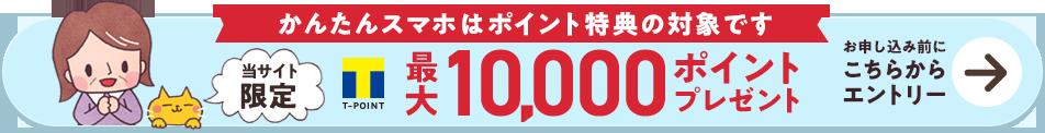 かんたんスマホはポイント特典の対象です 当サイト限定 Tポイント最大10,000ポイントプレゼント お申し込み前にこちらからエントリー