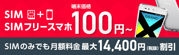 SIM+SIMフリースマホで端末価格100円から。 SIMのみでも月額料金 最大14,400円(税抜)割引