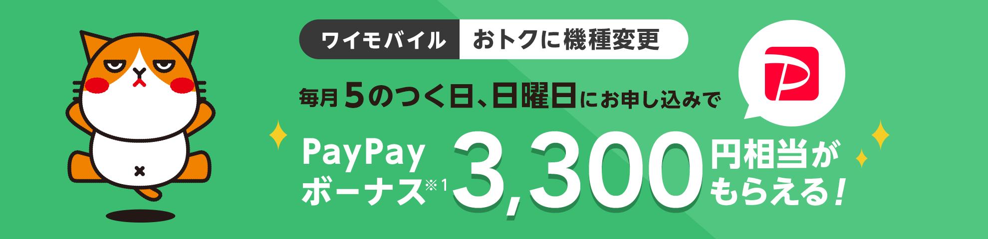 ワイモバイル おトクに機種変更 毎月5のつく日、日曜日にお申し込みで PayPayボーナス※1 3,300円相当がもらえる!