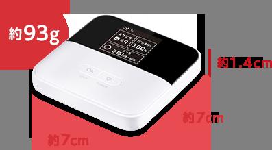 Pocket WiFi 601ZT 重さ約93グラム 縦幅約7センチ 横幅約7センチ 奥行き約1.4センチ