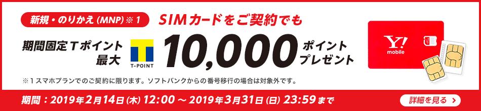 新規・のりかえ(MNP)※1 SIMカードをご契約でも 期間固定Tポイント 最大 10,000ポイント プレゼント ※1 スマホプランでのご契約に限ります。ソフトバンクからの番号移行の場合は対象外です。期間:2019年2月14日(木)12:00から2019年3月31日(日)23:59まで 詳細を見る