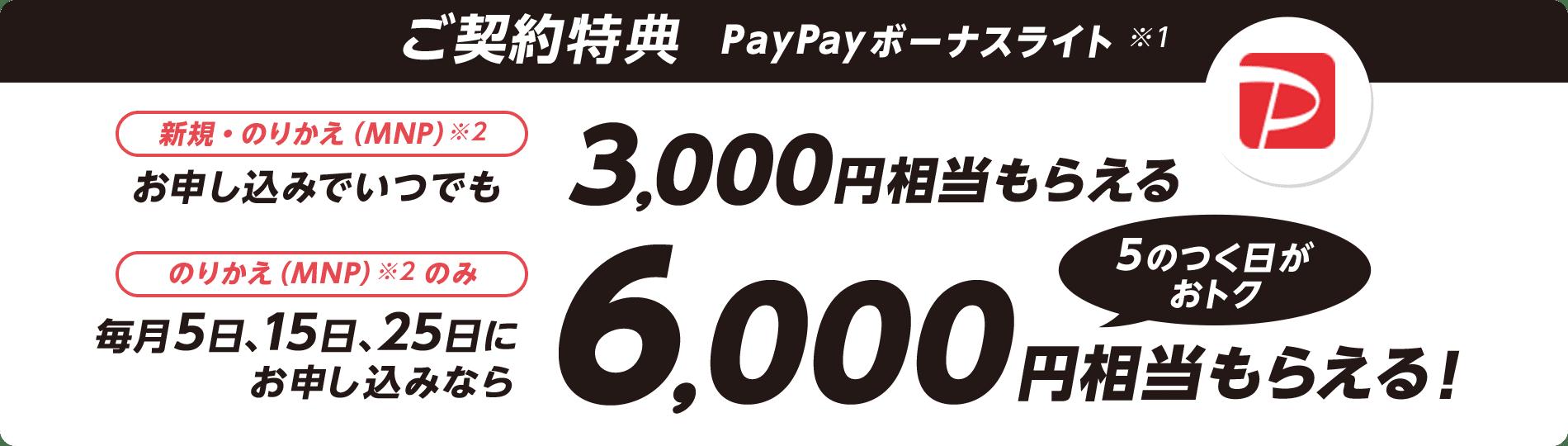 ご契約特典 PayPayボーナスライト※1 新規・のりかえ(MNP)※2 お申し込みでいつでも3,000円相当もらえる のりかえ(MNP)※2 のみ 毎月5日、15日、25日にお申し込みなら6,000円相当もらえる! 5のつく日がおトク