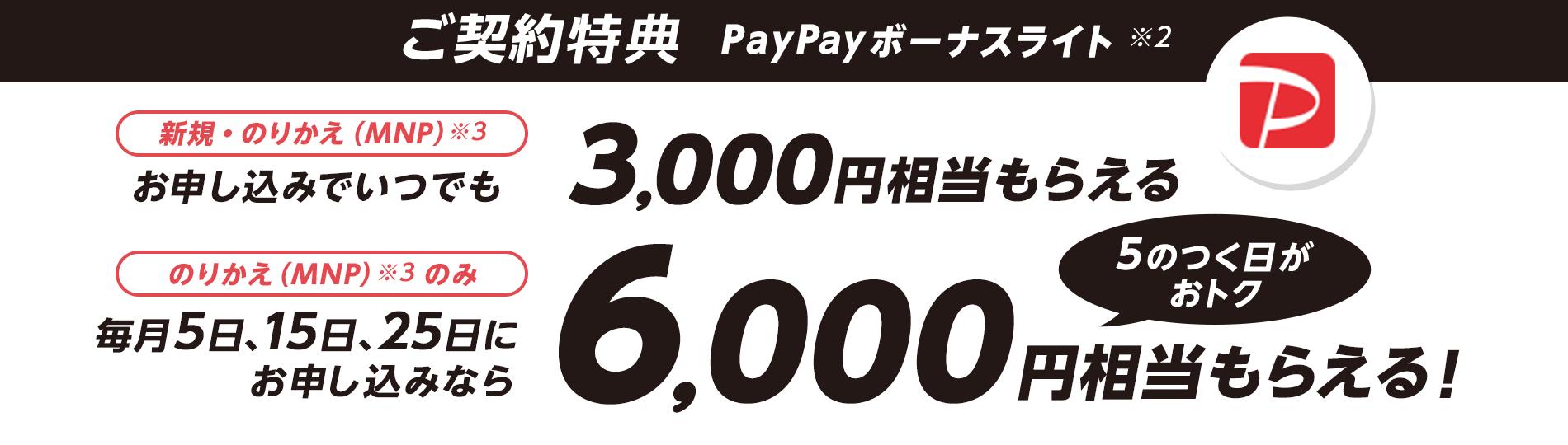 ご契約特典 PayPayボーナスライト※2 新規・のりかえ(MNP)※3 お申し込みでいつでも3,000円相当もらえる のりかえ(MNP)※3 のみ 毎月5日、15日、25日にお申し込みなら6,000円相当もらえる! 5のつく日がおトク