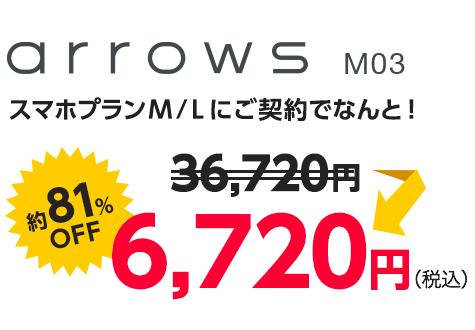 スマホプランM/Lにご契約でなんと! 36,720円が約81%OFFで6,720円(税込)に。