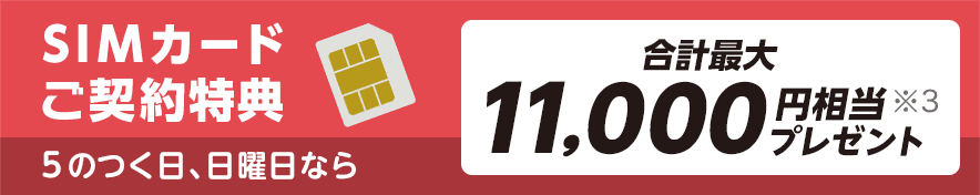 SIMカードご契約特典 5のつく日、日曜日なら 合計最大11,000円相当※3 プレゼント