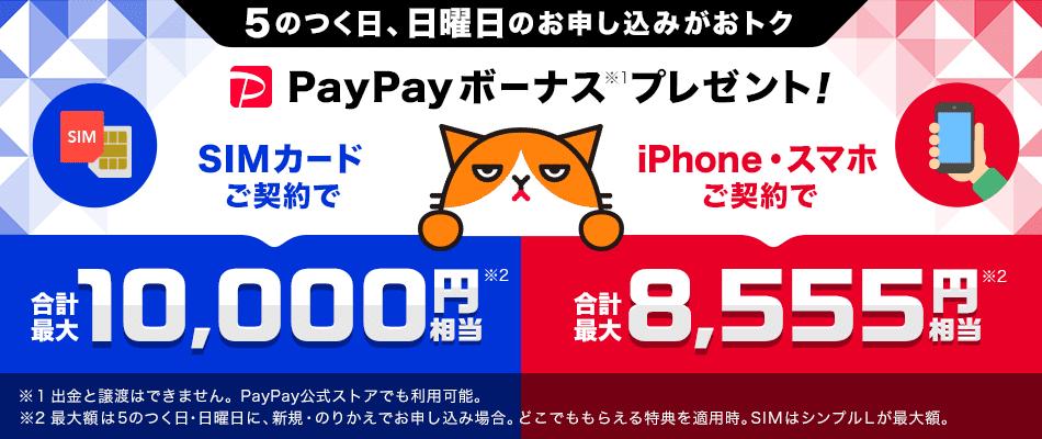 5のつく日、日曜日のお申し込みがおトク PayPayボーナス※1プレゼント! SIMカードご契約で 合計最大10,000円相当※2 iPhone・スマホご契約で 合計最大8,555円相当※2 ※1 出金と譲渡はできません。PayPay公式ストアでも利用可能。 ※2 最大額は5のつく日・日曜日に新規・のりかえでお申し込みの場合。どこでももらえる特典を適用時。SIMはシンプルLが最大額。