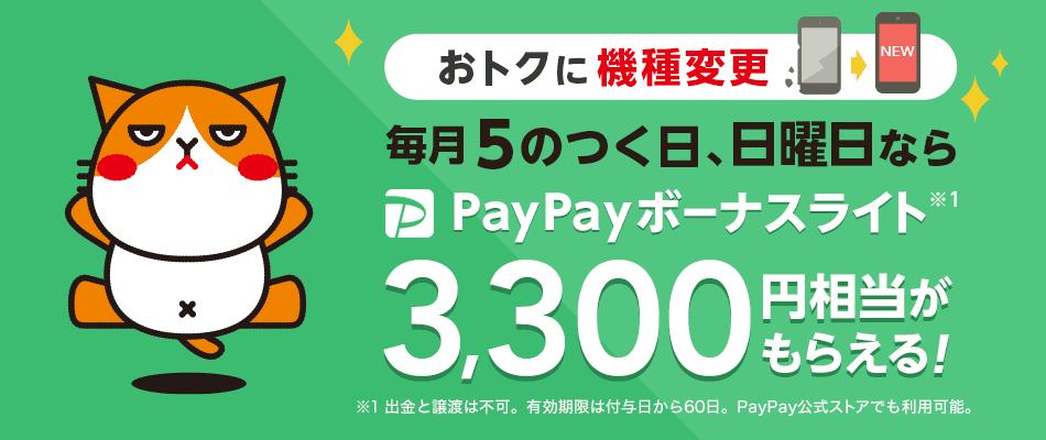 おトクに機種変更 毎月5のつく日、日曜日なら PayPayボーナスライト※1 3,300円相当がもらえる! ※1 出金と譲渡は不可。有効期限は付与日から60日。PayPay公式ストアでも利用可能。